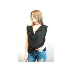 T-shirt Bluzka z krótkim rękawem. Czarne t-shirty damskie Miw collection, m, ze stojącym kołnierzykiem. Za 95,20 zł.