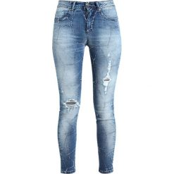 Rurki damskie: Benetton Jeans Skinny Fit medium blue destroyed