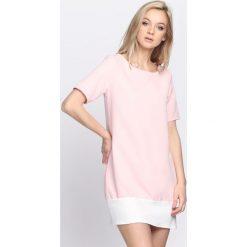 Różowa Sukienka Despair. Różowe sukienki letnie marki numoco, l, z dekoltem w łódkę, oversize. Za 69,99 zł.