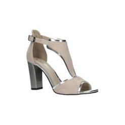 Rzymianki damskie: Sandały Karino  Różowe sandały skórzane zabudowane na słupku  2563/071-P