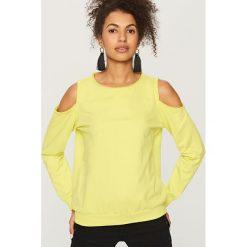 Bluzy damskie: Bluza z okrytymi ramionami – Zielony