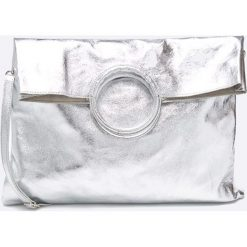 Answear - Torebka skórzana. Szare torebki klasyczne damskie marki ANSWEAR, w paski, z materiału, duże. W wyprzedaży za 199,90 zł.