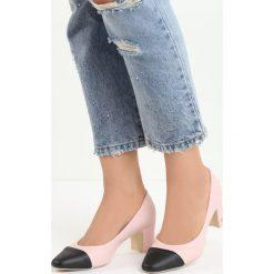 Różowe Czółenka Giga. Czerwone buty ślubne damskie Born2be, ze skóry, na niskim obcasie, na słupku. Za 49,99 zł.