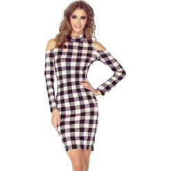 Sukienki: Nadia Sukienka z golfem i długim rękawem – CZARNO RÓŻOWA KRATKA