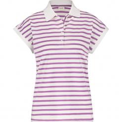 Koszulka polo w kolorze biało-fioletowym. Białe bluzki damskie Taifun, w paski, polo. W wyprzedaży za 65,95 zł.