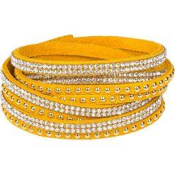 Bransoletki damskie: Skórzana bransoletka w kolorze żółtym ze szklanymi kryształkami