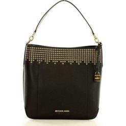 Luksusowa torebka bucket MICHAEL KORS black/dark khaki. Brązowe kuferki damskie Michael Kors, w paski, ze skóry. Za 999,00 zł.