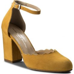 Półbuty BRENDA ZARO - T2525B Aina. Żółte creepersy damskie Brenda Zaro, z materiału, na obcasie. W wyprzedaży za 269,00 zł.