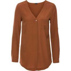 Bluzka z długim rękawem bonprix koniakowy. Brązowe bluzki asymetryczne bonprix, z dekoltem w serek, z długim rękawem. Za 89,99 zł.