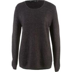 Sweter z puszystej przędzy bonprix czarno-matowy srebrny. Szare swetry klasyczne damskie bonprix. Za 54,99 zł.