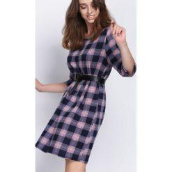 Granatowo-Różowa Sukienka Pull Up. Czerwone sukienki mini marki Mohito, l, z weluru. Za 59,99 zł.