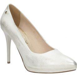 Złote szpilki czółenka skórzane na platformie Oleksy 13P/506. Szare buty ślubne damskie marki Oleksy, ze skóry. Za 238,99 zł.