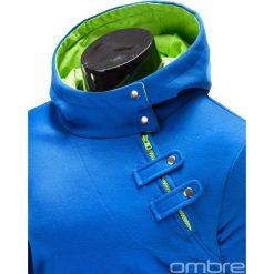 BLUZA MĘSKA Z KAPTUREM PACO - NIEBIESKO-ZIELONA. Niebieskie bluzy męskie rozpinane marki Ombre Clothing, m, z bawełny, z kapturem. Za 69,00 zł.
