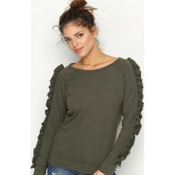 Bluzy damskie: Ciemnozielona Bluza Fancy Sleeves