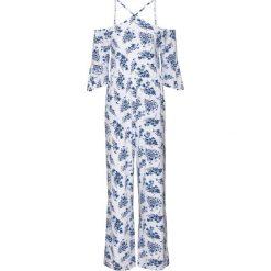 Kombinezon z nadrukiem bonprix biało-niebieski w kwiaty. Czarne kombinezony eleganckie marki DOMYOS, z elastanu. Za 79,99 zł.