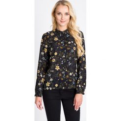Bluzki asymetryczne: Granatowa bluzka w żółte kwiaty QUIOSQUE