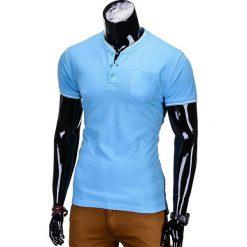 T-SHIRT MĘSKI BEZ NADRUKU S667 - BŁĘKITNY. Szare t-shirty męskie z nadrukiem marki Ombre Clothing, m, z bawełny, ze stójką. Za 24,99 zł.
