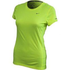 Topy sportowe damskie: Nike Koszulka Miler SS Crew Top żółta r. L (519829 702)