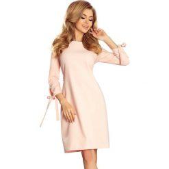 Sukienki: Różowa Sukienka z Kokardkami i Paskiem