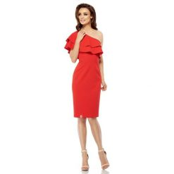 Czerwona Dopasowana Sukienka z Falbanką na Jedno Ramię. Czerwone sukienki na komunię marki Mohito, l, z materiału, z falbankami. Za 159,90 zł.