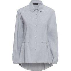 Bluzki damskie: Bluzka z perełkami bonprix czarno-biel wełny