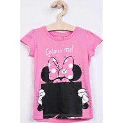 Name it - Top dziecięcy 92-110 cm. Różowe bluzki dziewczęce bawełniane Name it, z nadrukiem, z okrągłym kołnierzem, z krótkim rękawem. W wyprzedaży za 39,90 zł.
