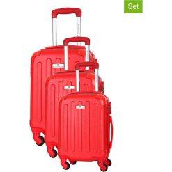 Zestaw walizek w kolorze czerwonym - 3 szt. Czerwone walizki marki Platinium, z materiału. W wyprzedaży za 499,95 zł.