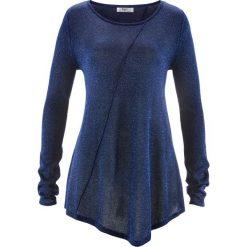 Swetry klasyczne damskie: Sweter z błyszczącą nitką, długi rękaw bonprix ciemnoniebieski – metaliczny srebrny