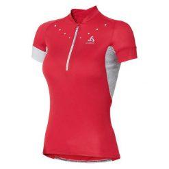 Odlo Koszulka Stand-up collar s/s ISOLA czerwona r. M (410911). Czerwone topy sportowe damskie marki Odlo, m. Za 199,95 zł.