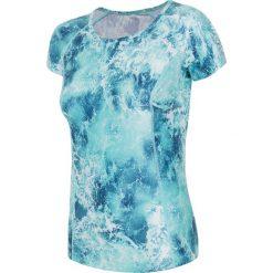 Koszulka treningowa damska TSDF258 - turkus. Niebieskie bluzki z odkrytymi ramionami 4f, z nadrukiem, z elastanu, sportowe. Za 59,99 zł.