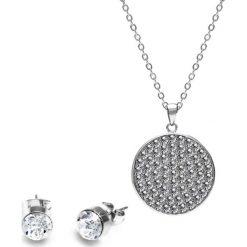 Kolczyki damskie: 2-częściowy zestaw w kolorze srebrnym – kolczyki, naszyjnik