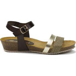 Rzymianki damskie: Skórzane sandały w kolorze czarno-srebrno-oliwkowym