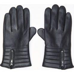 Rękawiczki męskie: Skórzane rękawiczki - Czarny