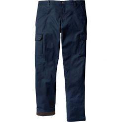 Spodnie bojówki ocieplane Regular Fit Straight bonprix ciemnoniebieski. Niebieskie bojówki męskie marki bonprix. Za 159,99 zł.