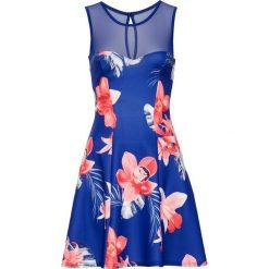Sukienki: Sukienka z kwiatowym nadrukiem bonprix ciemnoniebiesko-różowy