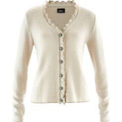 Swetry rozpinane damskie: Sweter rozpinany ludowy z falbankami bonprix beżowo-szary