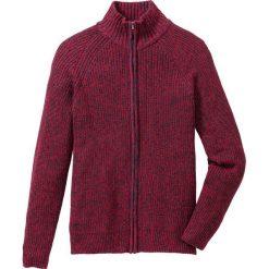 Sweter rozpinany Regular Fit bonprix ciemnoczerwono-ciemnoniebieski melanż. Czerwone kardigany męskie marki bonprix, l, melanż, ze stójką. Za 109,99 zł.