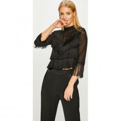 Answear - Bluzka. Czarne bluzki wizytowe marki ANSWEAR, l, z aplikacjami, z dzianiny, casualowe, ze stójką. Za 149,90 zł.