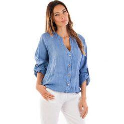 Bluzki asymetryczne: Lniana bluzka w kolorze niebieskim