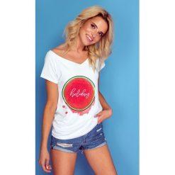 Bluzka t-shirt holiday k141. Białe bluzki asymetryczne Knitis, m, z dzianiny, klasyczne, z klasycznym kołnierzykiem, z długim rękawem. W wyprzedaży za 44,00 zł.