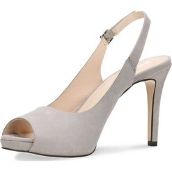 Sandały OLIVIA. Szare sandały damskie Gino Rossi, w paski, z nubiku, na wysokim obcasie, na szpilce. Za 229,90 zł.