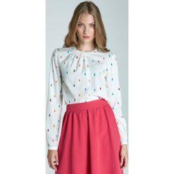Bluzki damskie: Wzorzysta Elegancka Bluzka z Plisami przy Dekolcie z Długim Rękawem