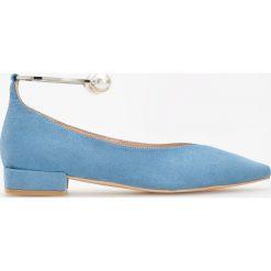 Baleriny damskie: Balerinki z bransoletką - Niebieski