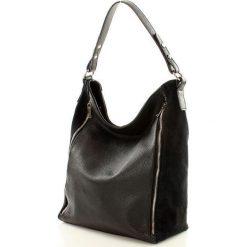 Torebki klasyczne damskie: ESTELLA Skórzana torebka włoska na ramię – czarny