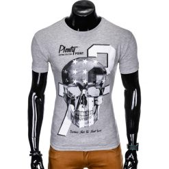 T-SHIRT MĘSKI Z NADRUKIEM S995 - SZARY. Szare t-shirty męskie z nadrukiem marki Ombre Clothing, m. Za 29,00 zł.