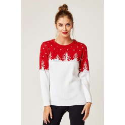 Sweter w kolorze biało-czerwonym. Białe swetry klasyczne damskie marki SCUI, z okrągłym kołnierzem. W wyprzedaży za 129,95 zł.