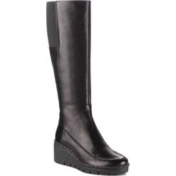 Kozaki GEOX - D Wiva Wedge E D849VE 00081 C9999 Black. Czarne buty zimowe damskie Geox, ze skóry ekologicznej, przed kolano, na wysokim obcasie. W wyprzedaży za 569,00 zł.