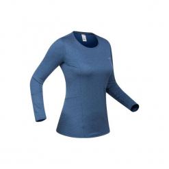 Koszulka narciarska 500 damska. Niebieskie t-shirty damskie marki WED'ZE, m, z materiału. Za 49,99 zł.