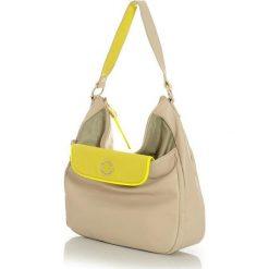 Miejska torebka worek beżowy z żółtym. Brązowe torebki worki Monnari, w paski, ze skóry ekologicznej. Za 120,00 zł.