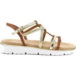 Rzymianki damskie: Sandały w kolorze złoto-jasnobrązowym